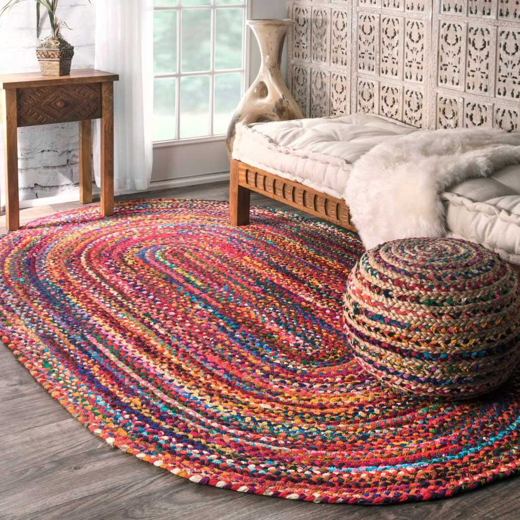 7' x 9' Red Blue Hippie Theme Oval Rug Orange Green Hippy Themed Oblong Carpet Rainbow Color Bohemian Stripe Pattern Carpeting Braided Soft Bright - Diamond Home USA
