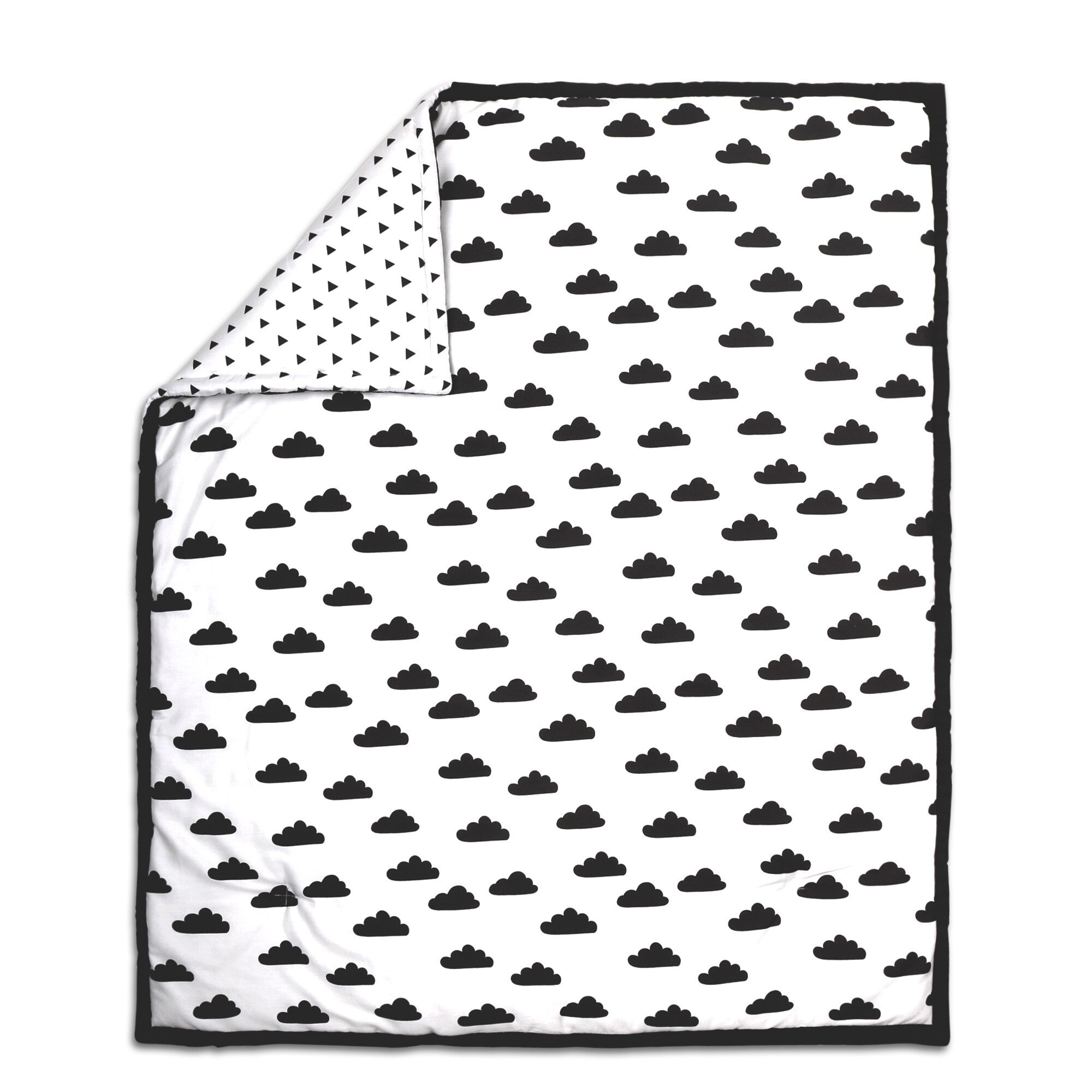 Cloud Print Cotton Quilt in Black/White White Nature Neutral - Diamond Home USA