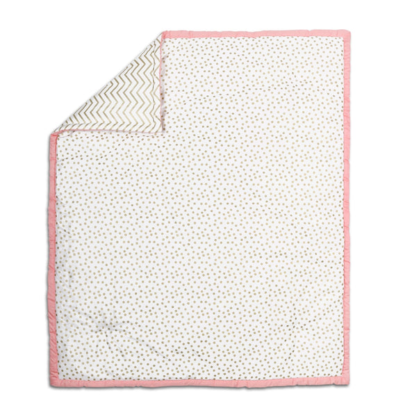 Confetti Cotton Quilt in Coral/Gold Multi Color Chevron Girls - Diamond Home USA
