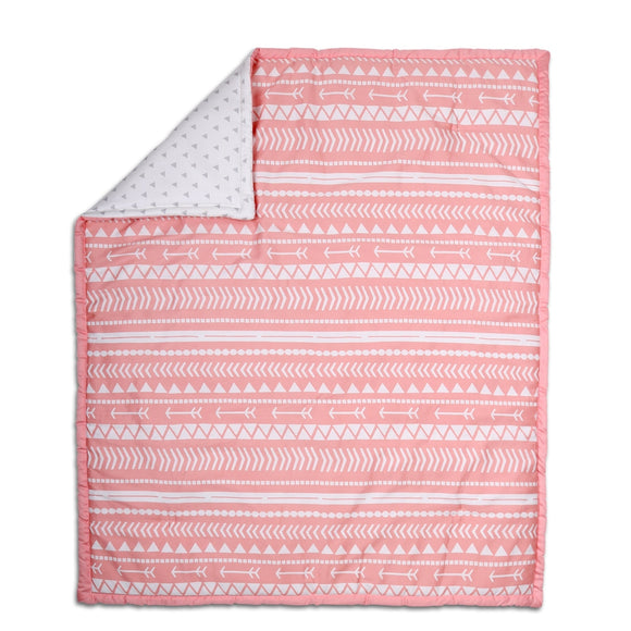 Tribal Print Cotton Quilt in Coral Pink Geometric Girls - Diamond Home USA