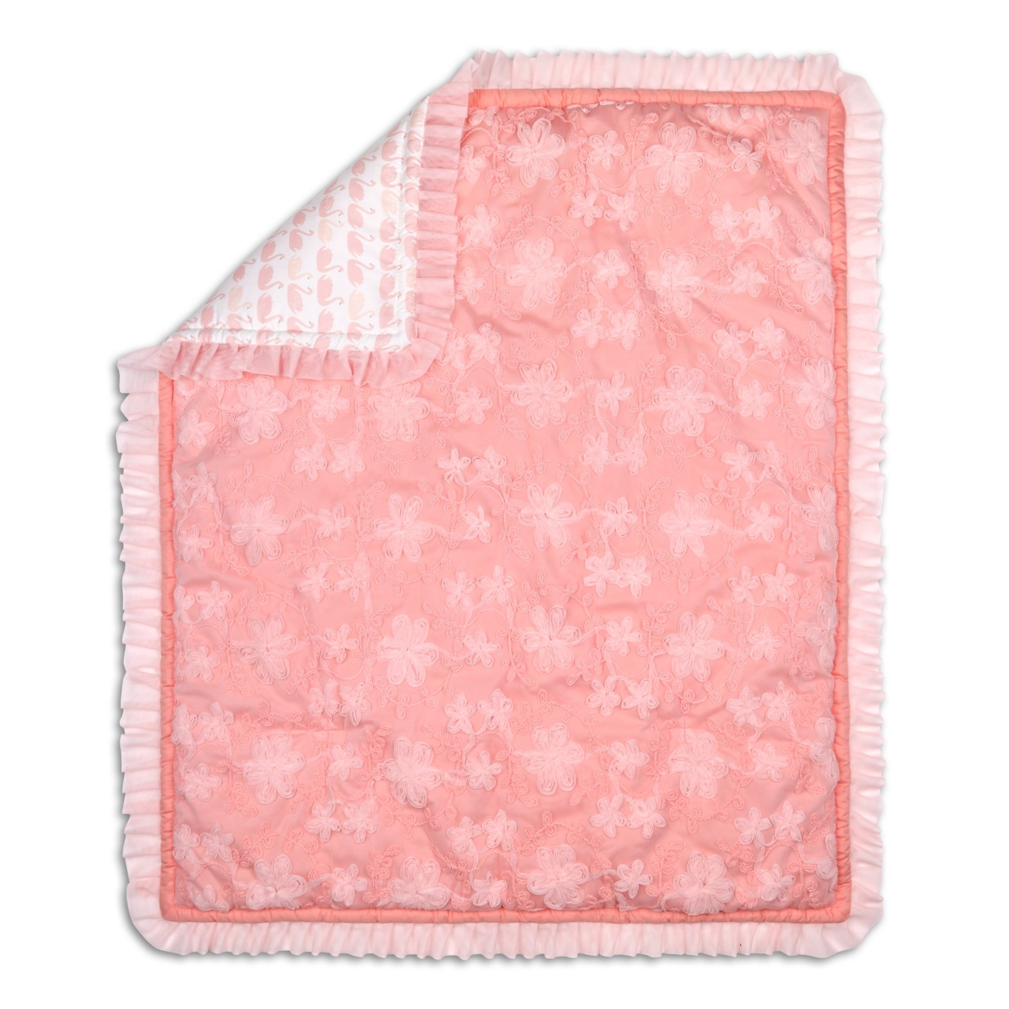 The Peanutshell Audrey Quilt Pink Floral Girls Animals Cotton - Diamond Home USA