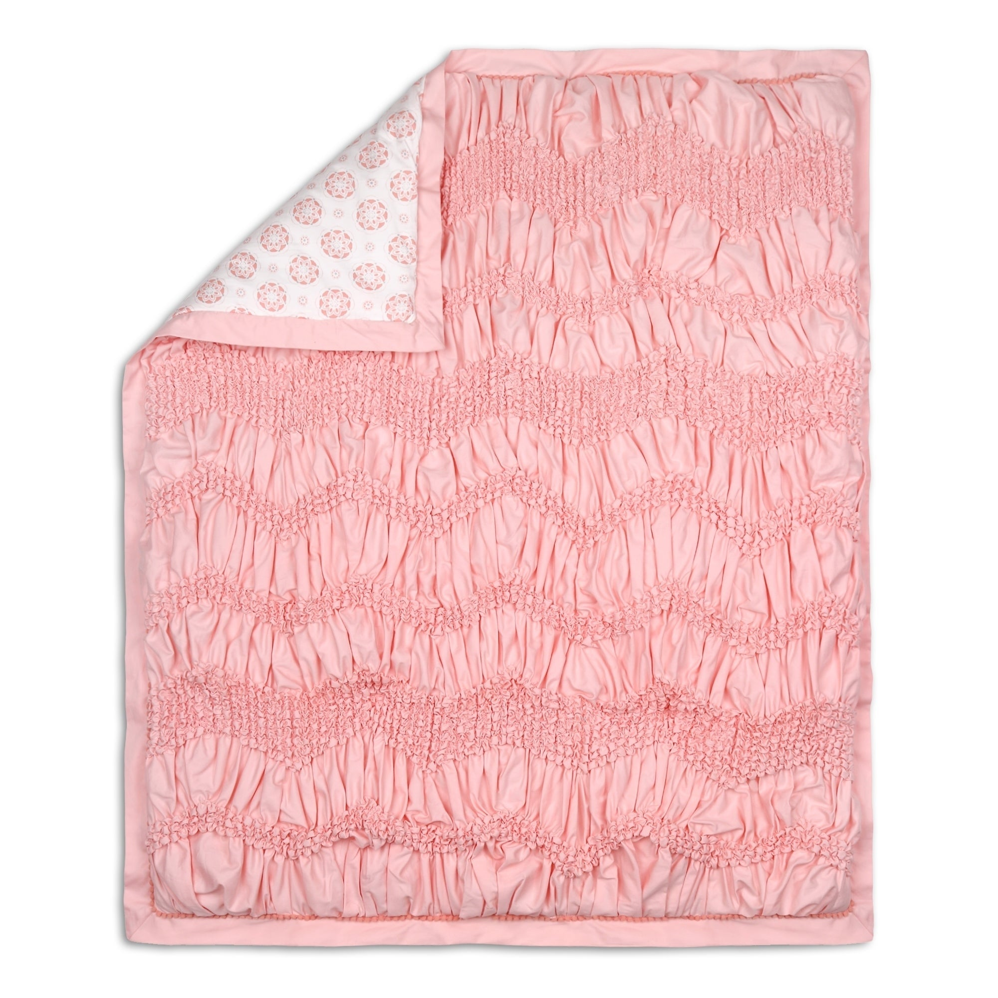 The Peanutshell Jayden Quilt Pink Chevron Neutral Cotton - Diamond Home USA