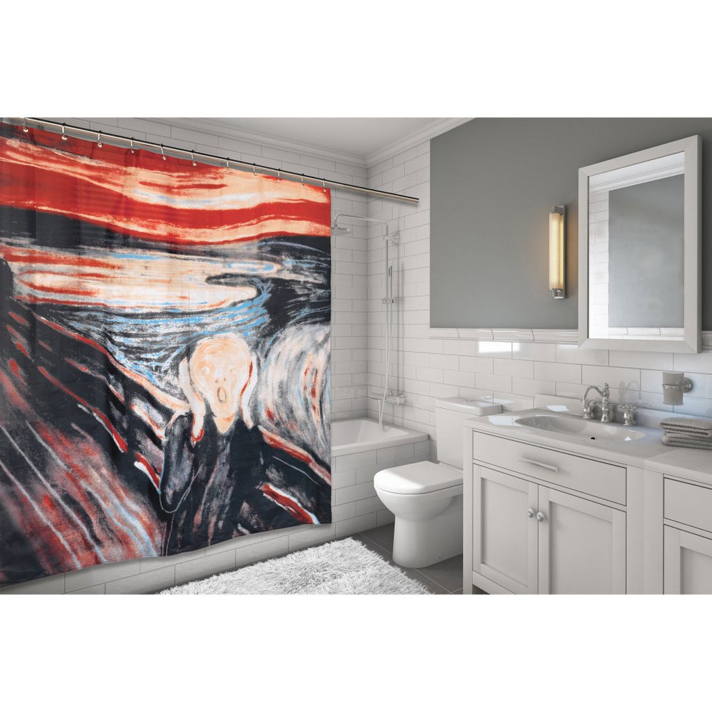 Red Black Graphic Art Themed Shower Curtain Polyester Detailed Colorful Edvard Munch's Scream Painting Printed Abstract Graphical Pattern Modern - Diamond Home USA