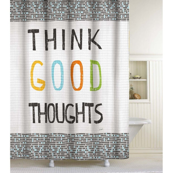 Think Good Thoughts Shower Curtain Novelty Bathroom Pattern Positive Quote Vibe Happy Themed Modern Inspiration Sayings Motivational Smile Cheerful - Diamond Home USA