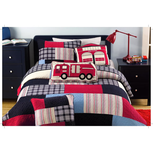 Fireman Quilt Set Fireman Bedding Collection Features Plaid Accents Boys Rainbow Fire Truck Themed Bedding