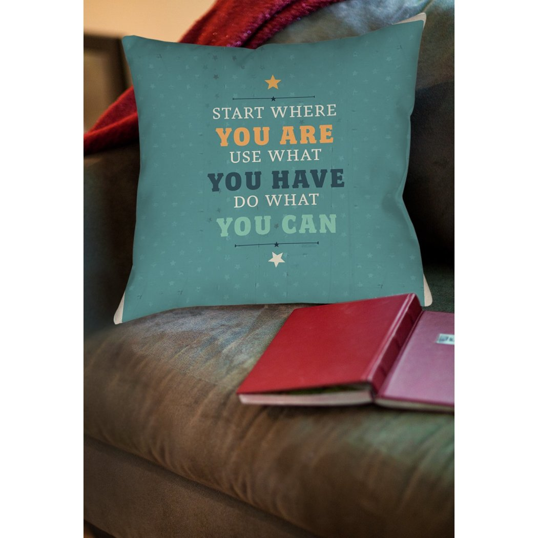 Quote Throw Pillow Square Shape Casual Quotes Sayings Pattern Accent Pillow Spot Clean Care Knife Edging Words Pattern