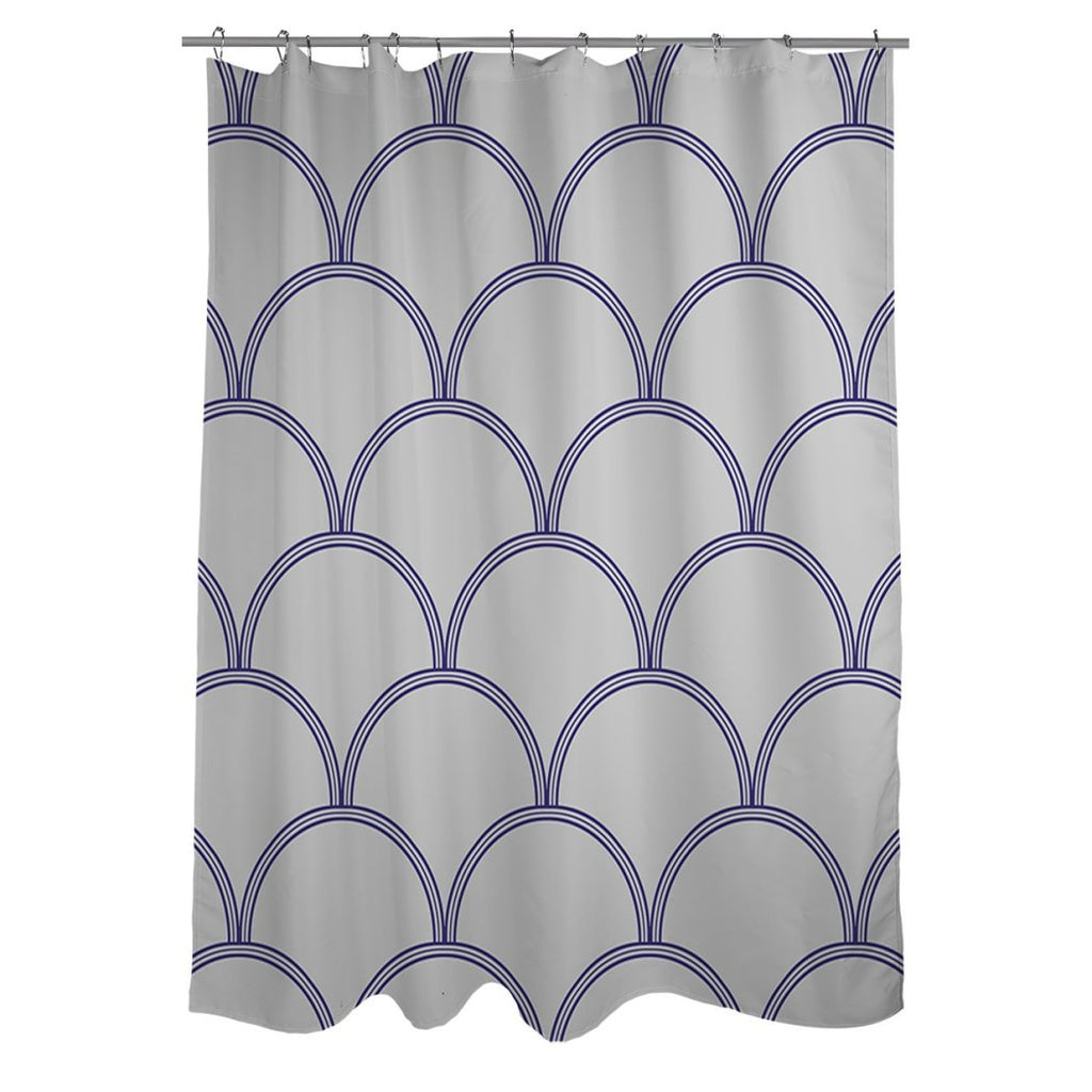 Navy Blue Grey Semi Circle Stripes Printed Shower Curtain Polyester Abstract Graphical Geometric Pattern Detailed Colorful Textures Printed Modern - Diamond Home USA