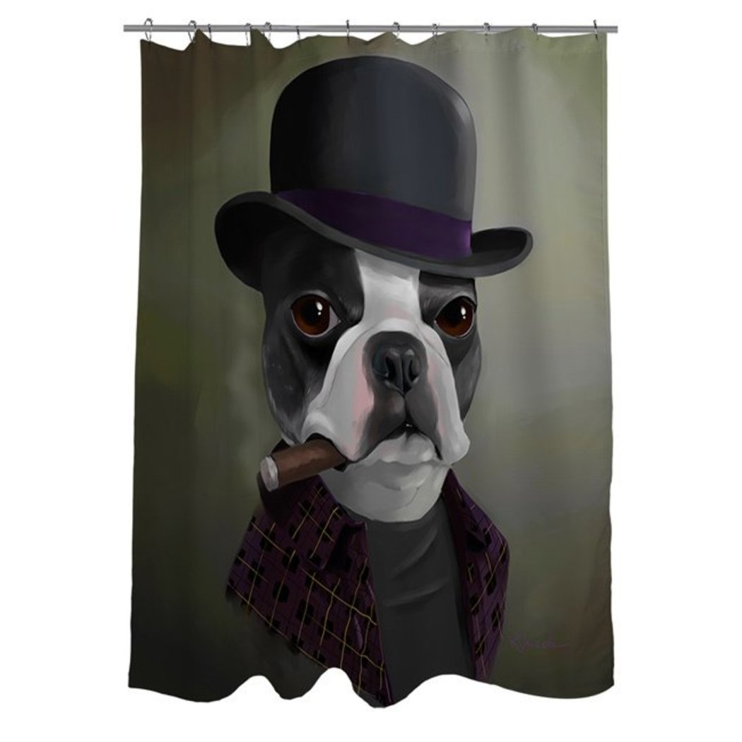 Kids Boston Terrier Bob Hat Themed Shower Curtain Cute Face Boston Terrier Thick Cigar Pattern Pretty Gangster Look Bathtub Curtain Color Pet Animal - Diamond Home USA