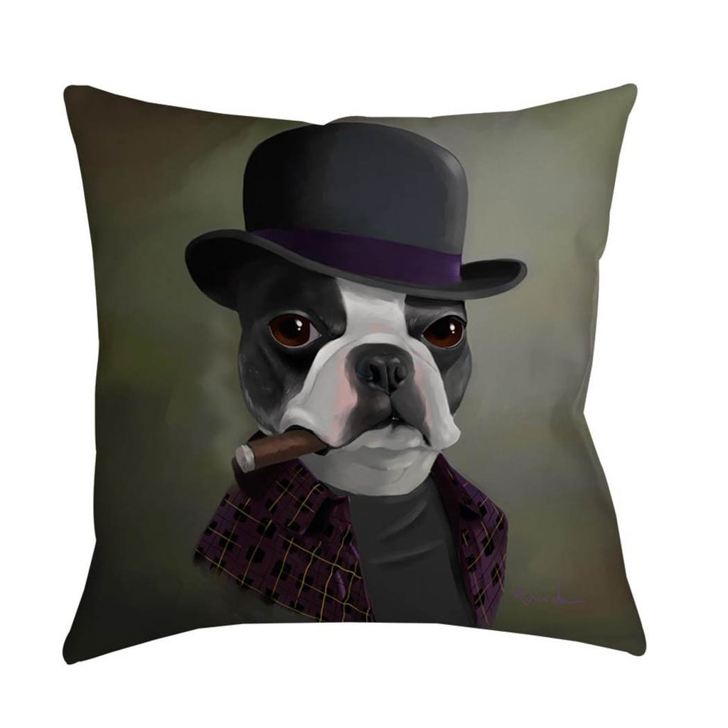 Dog Bowler Hat Animal Throw Pillow Pet Themed Design Square Shape Casual Accent Type Spot Clean Polyester Eco