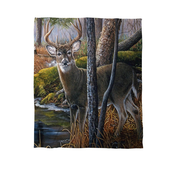 Pond Deer Throw Blanket Animal Themed Nature Hunting Woods Cabin Cottage Lodge Lakeside River Modern Fun Pretty Painting Canvas