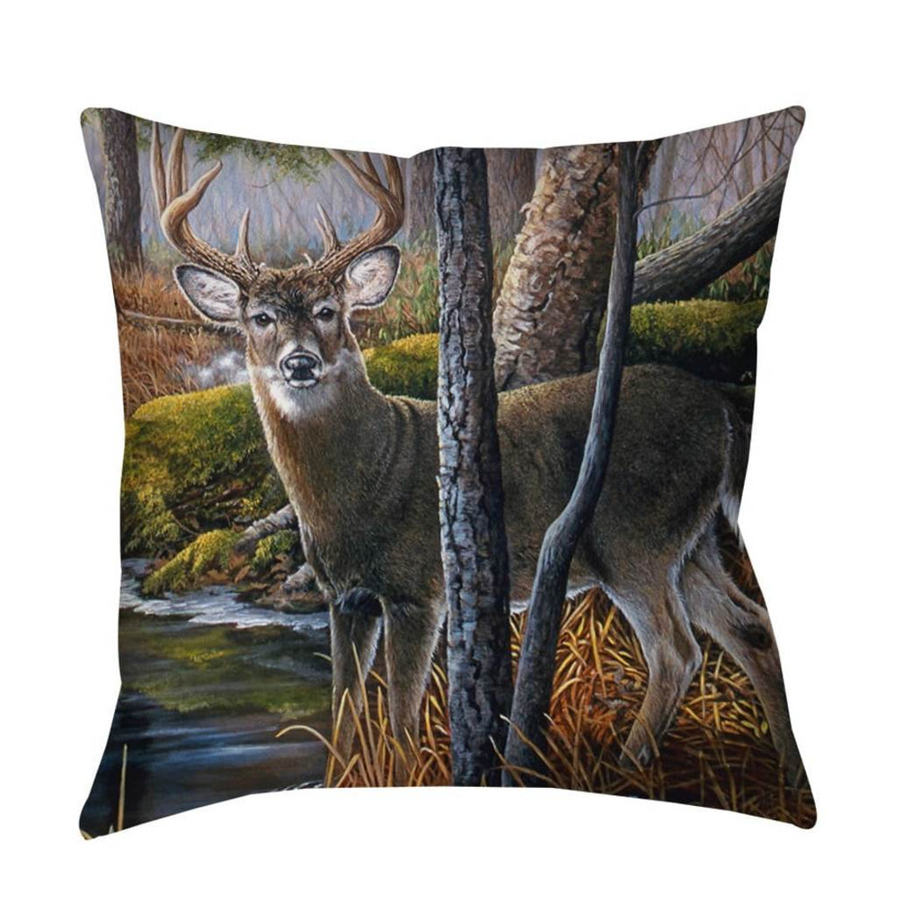 Pond Deer Throw Pillow Animal Themed Nature Hunting Woods Cabin Cottage Lodge Lakeside River Modern Fun Pretty Painting Canvas