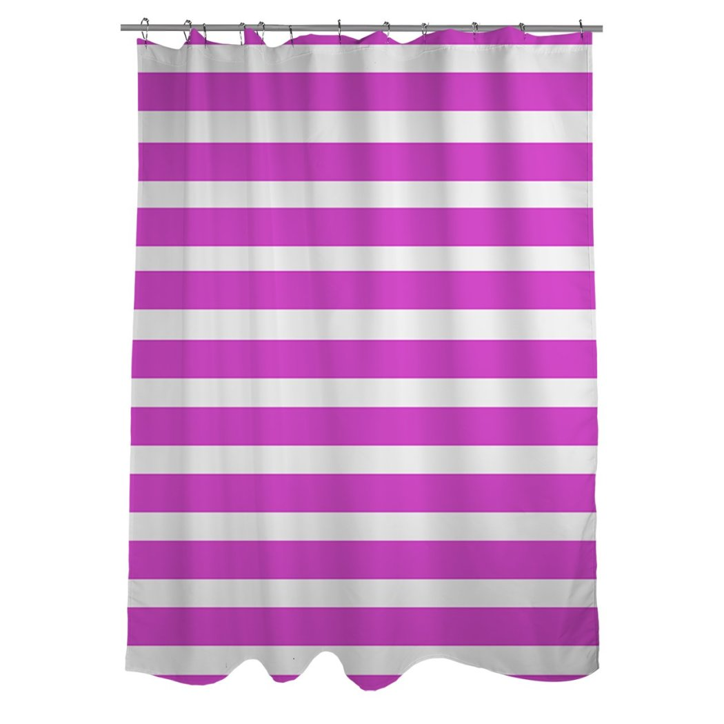 Girls Pink Grey Horizontal Stripe Printed Shower Curtain Polyester Abstract Graphical Geometric Pattern Detailed Colorful Textures Printed Modern - Diamond Home USA