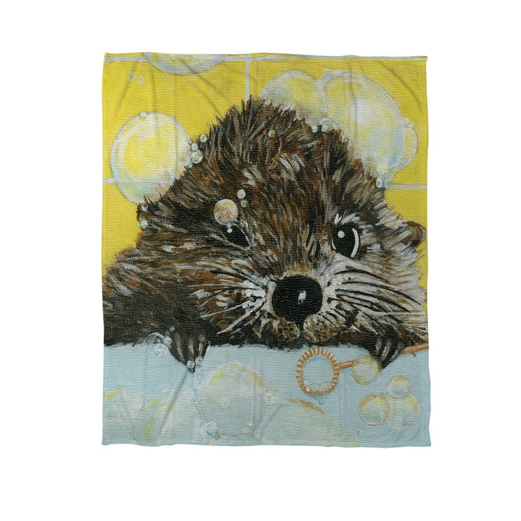 Cute Pond Throw Blanket Animal Themed Nature Hunting Woods Cabin Cottage Lodge Lakeside River Modern Fun Pretty Painting Canvas