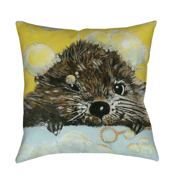 Cute Pond Throw Pillow Animal Themed Nature Hunting Woods Cabin Cottage Lodge Lakeside River Modern Fun Pretty Painting Canvas