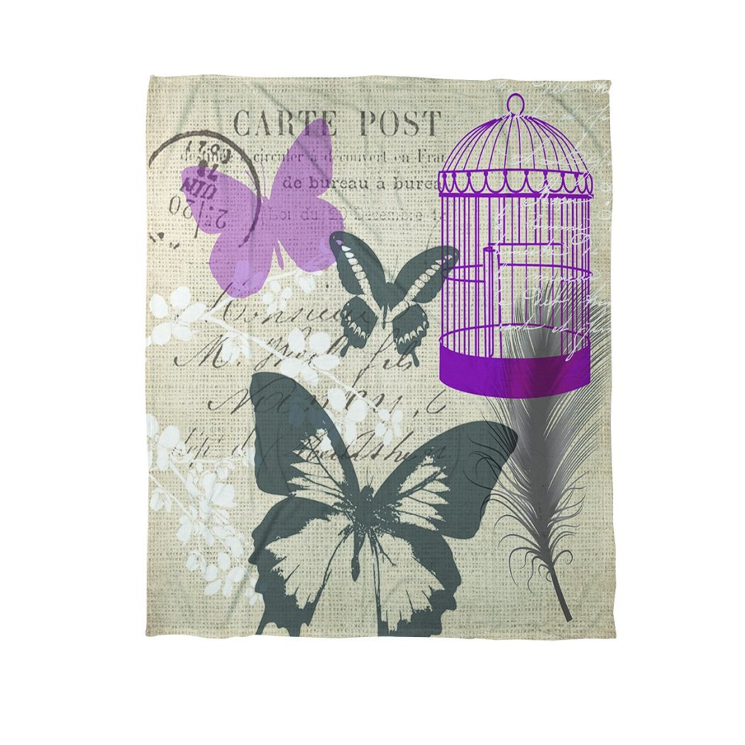 Girls Butterfly Collage Burlap Fleece Throw Blanket Nest Floral Butterflies Text Mes Printed Plush Casual