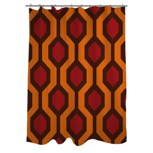 Red Orange Brown Geometric Pattern Shower Curtain Polyester Abstract Graphical Themed Detailed Colorful Hexagon Printed Modern Elegant Design Artistic - Diamond Home USA