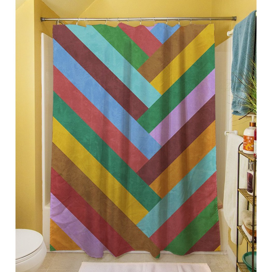 Red Purple Rainbow Chevron Stripes Printed Shower Curtain Polyester Abstract Graphical Geometric Pattern Detailed Colorful Textures Printed Modern - Diamond Home USA
