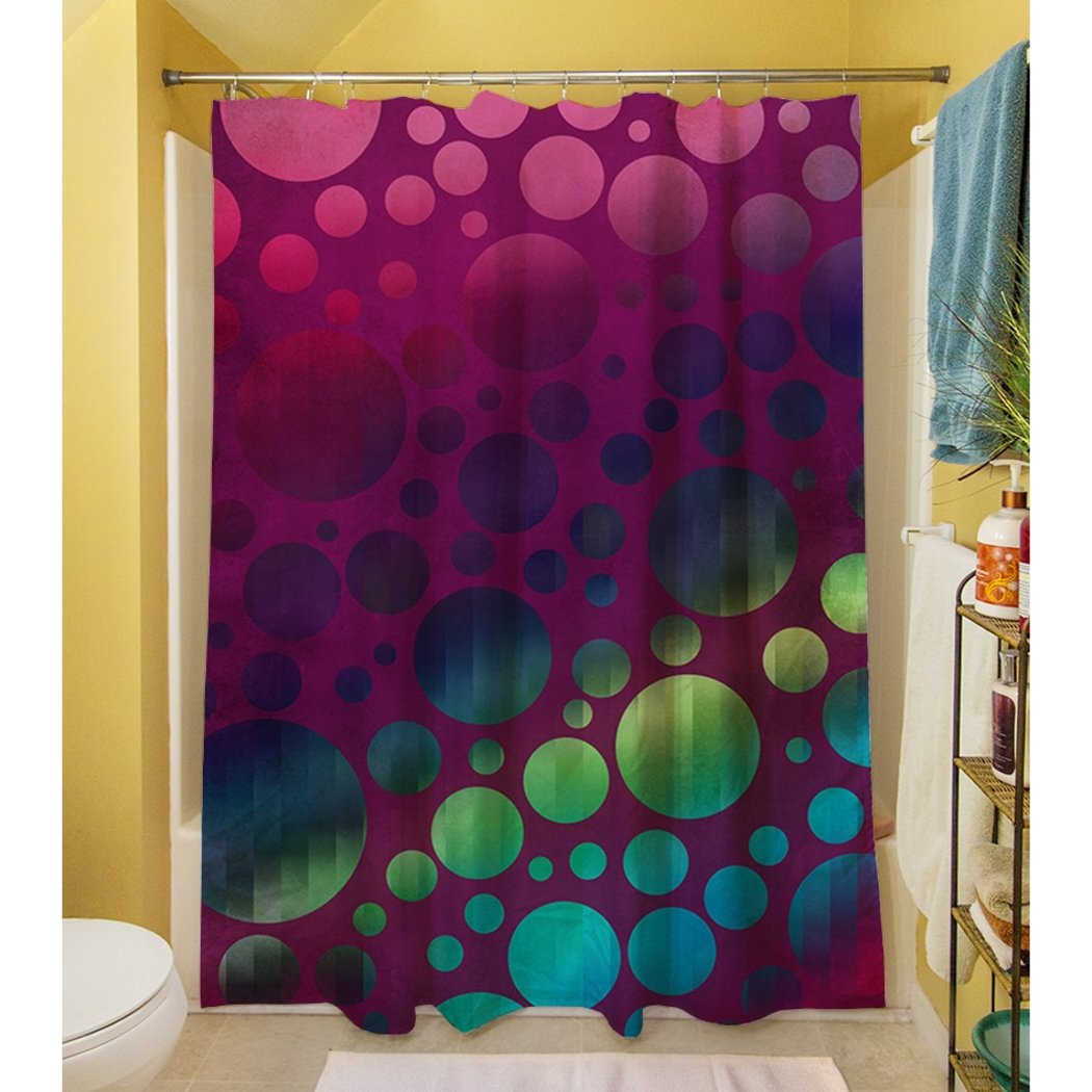 Purple Blue Rainbow Bubbles Themed Shower Curtain Polyester Abstract Graphical Geometric Pattern Detailed Colorful Textures Printed Modern Elegant - Diamond Home USA