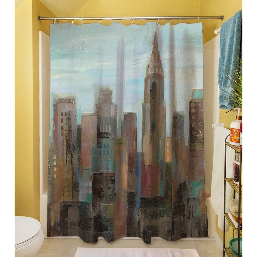 Cityscape Themed Shower Curtain Graphic Art Work Gorgeous Abstract Hippy Urban Area Contemporary High End Textural Design Pattern Artistic Accents - Diamond Home USA
