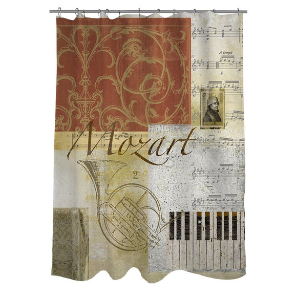 Brown Yellow Graphic Art Themed Shower Curtain Polyester Detailed Colorful Mozart Rhythm Music Instrument Printed Abstract Graphical Pattern Modern - Diamond Home USA