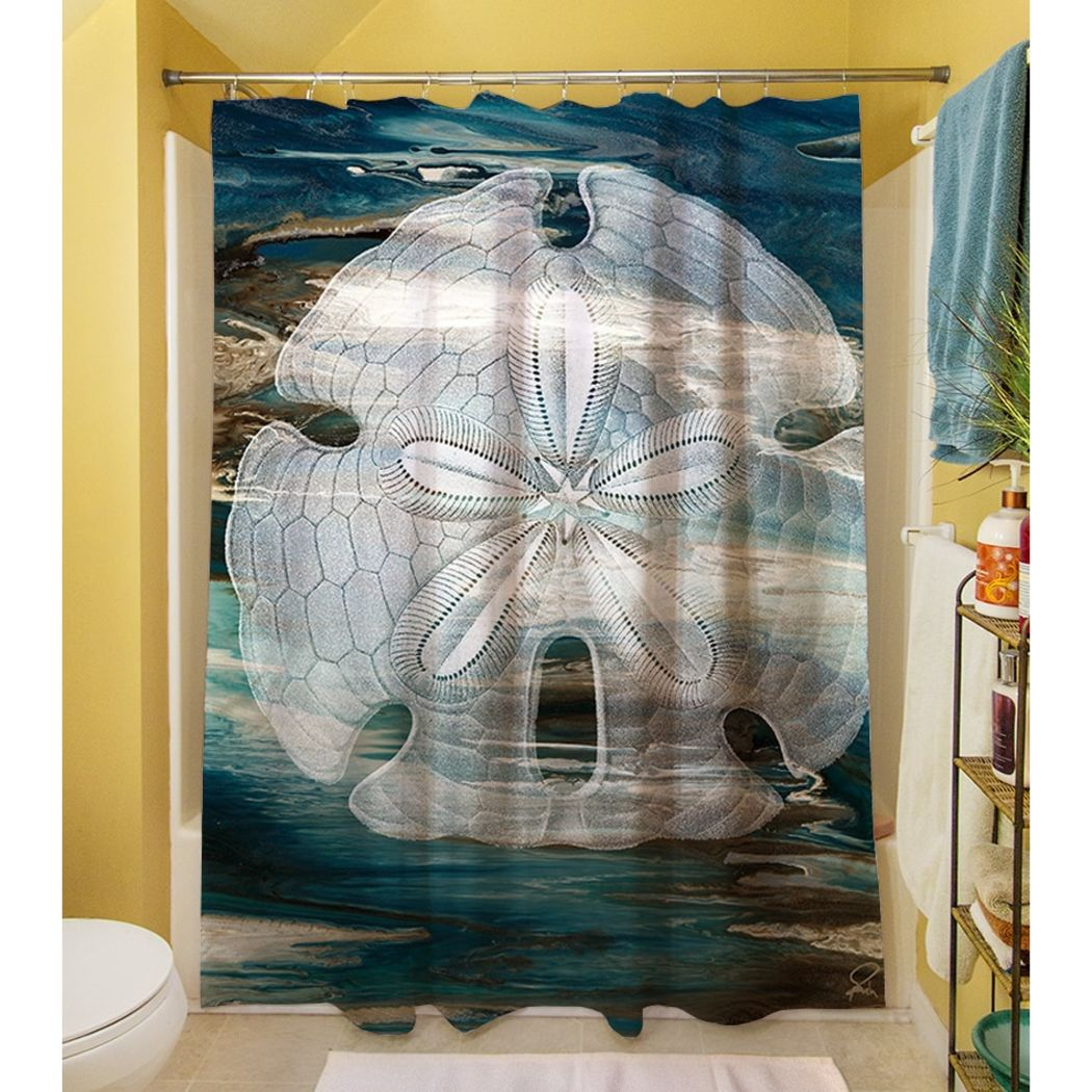 Ocean Blue White Graphic Art Themed Shower Curtain Polyester Detailed Colorful Seashell Printed Abstract Graphical Pattern Modern Elegant Design - Diamond Home USA
