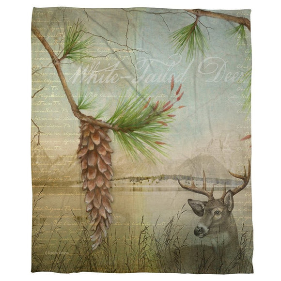 Lodge Deer Fleece Throw Blanket Kids Artistic Design Animal Tree Nature Themed Wildlife Luxury Plush Blanket