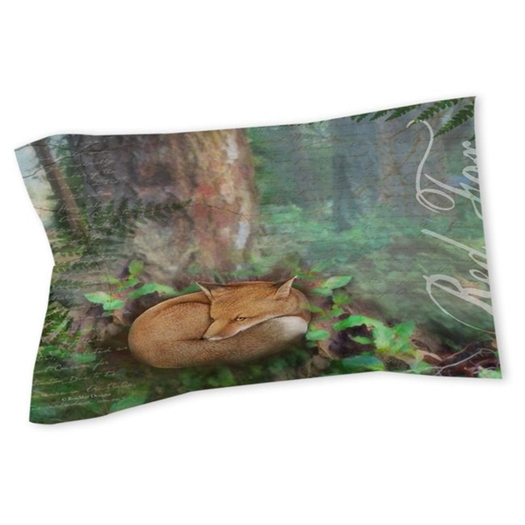 Fo Pillow Trees Woods Lodge Themed Cabin Cottage Country Wild Animal Foxy Pattern Nature Wilderness Cotton