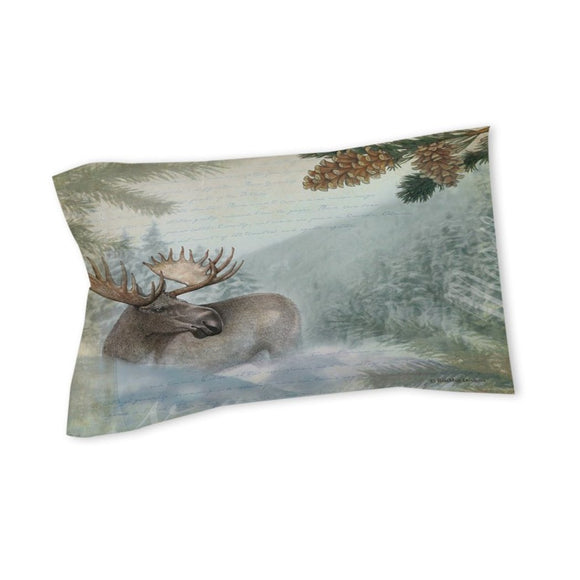Moose Pillow Cabin Themed Lodge Pattern ic Hunting Woods Pinecombs Nature Wild Animal Country Cottage Cotton