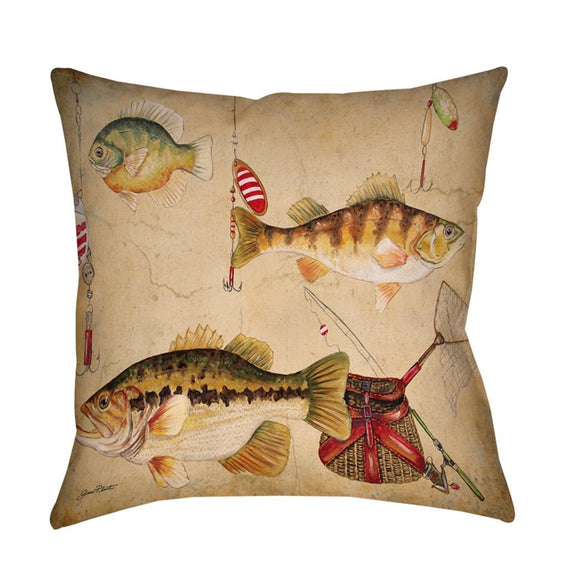 Fishing Themed Throw Pillow Fish Pattern Cabin Lake House Cushion Fishing Rods Lures Bait Net Lodge Rustic Square Shaped