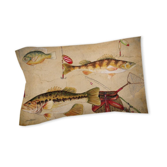 Fishing Themed Pillow Cabin Pattern Lodge Outdoors Sport Fish Design Lures Hooks Country ic Cottage Cottage