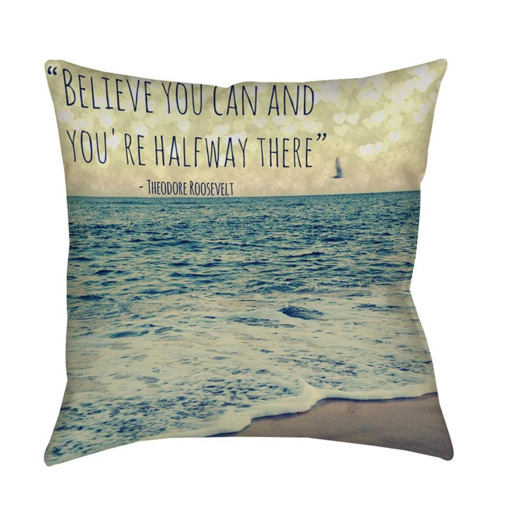 Beach Theme Throw Pillow Nautical Coastal Tropical Ocean Sea Quote Pattern Contemporary Chic Modern Accent Pillows Seat Cushion Couch Sofa Bedroom Bed Polyester
