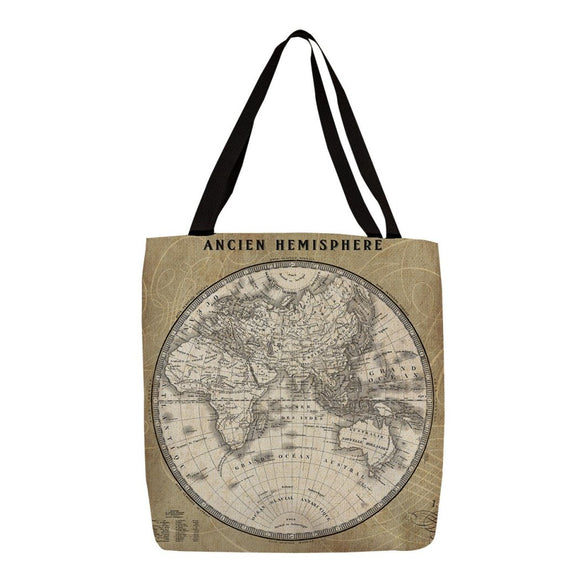 Beige French World Map II Shopping Tote Bag Classic Graphic Pattern Shoulder Bag Vibrant Colors Features Two Soft Comfy Cotton Webbed Handles Durable Polyester