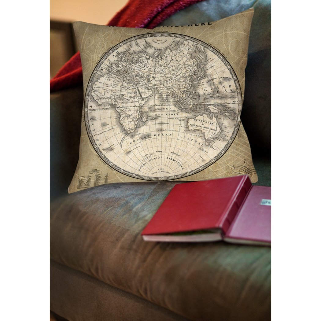 French World Map II Decorative Throw Pillow Classic Architectural Design Bold Graphic Theme Sofa Cushion Casual Soft Comfy Durable Polyester