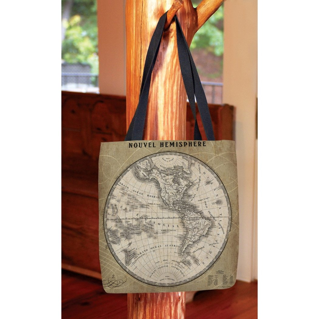 Beige French World Map III Shopping Tote Bag Classic Graphic Pattern Shoulder Bag Vibrant Colors Features Two Soft Comfy Cotton Webbed Handles Durable Polyester