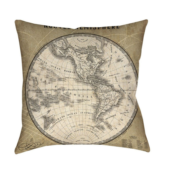 French World Map III Decorative Throw Pillow Classic Architectural Design Bold Graphic Theme Sofa Cushion Casual Soft Comfy Durable Polyester