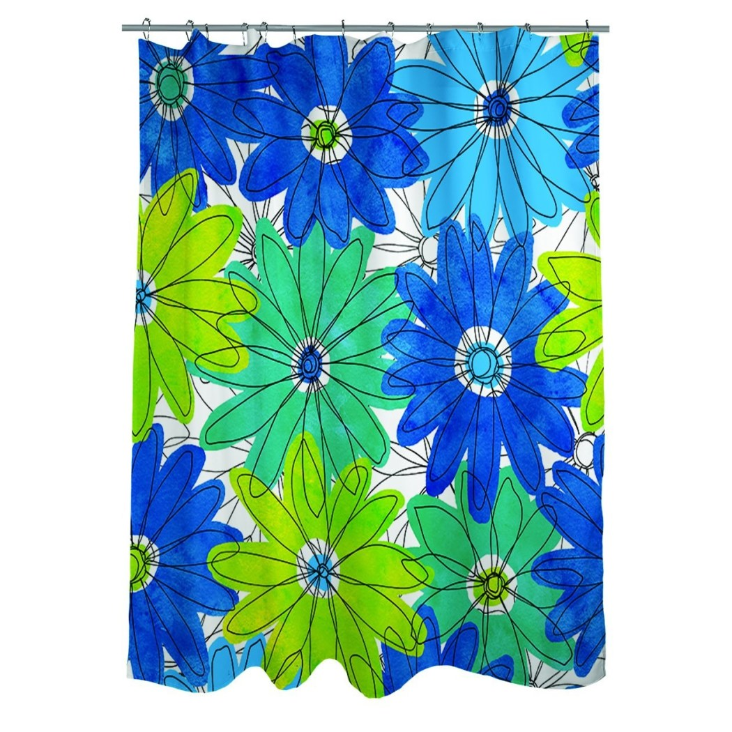Printed Floral Gerbera Daisy Shower Curtain Blue Green Royal Blue Floral Gerber Daisy Artsy Floral Fabric Abstract Gerbera Daisy Heads - Diamond Home USA
