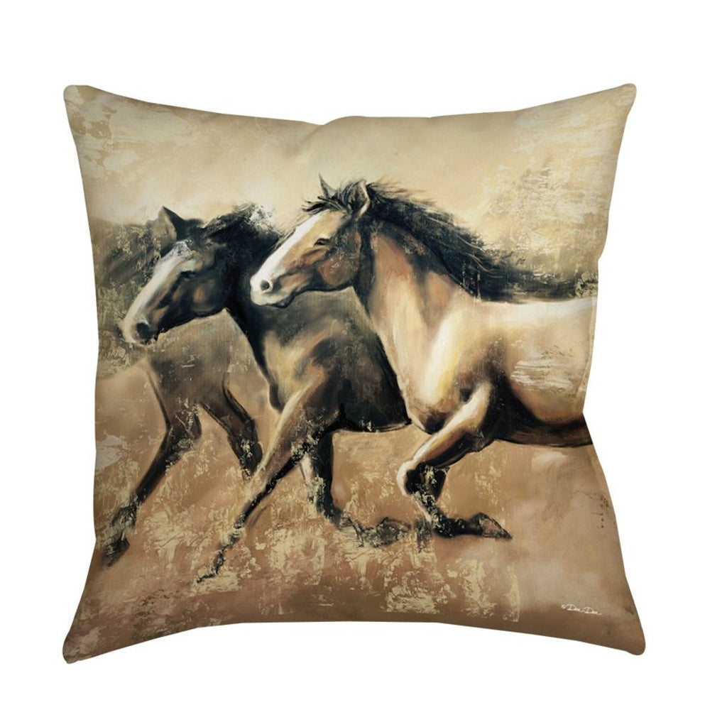 Galloping Horses Animal Throw Pillow Square Shape Casual Country Graphic Pattern Accent Type Spot Clean Eco Friendly
