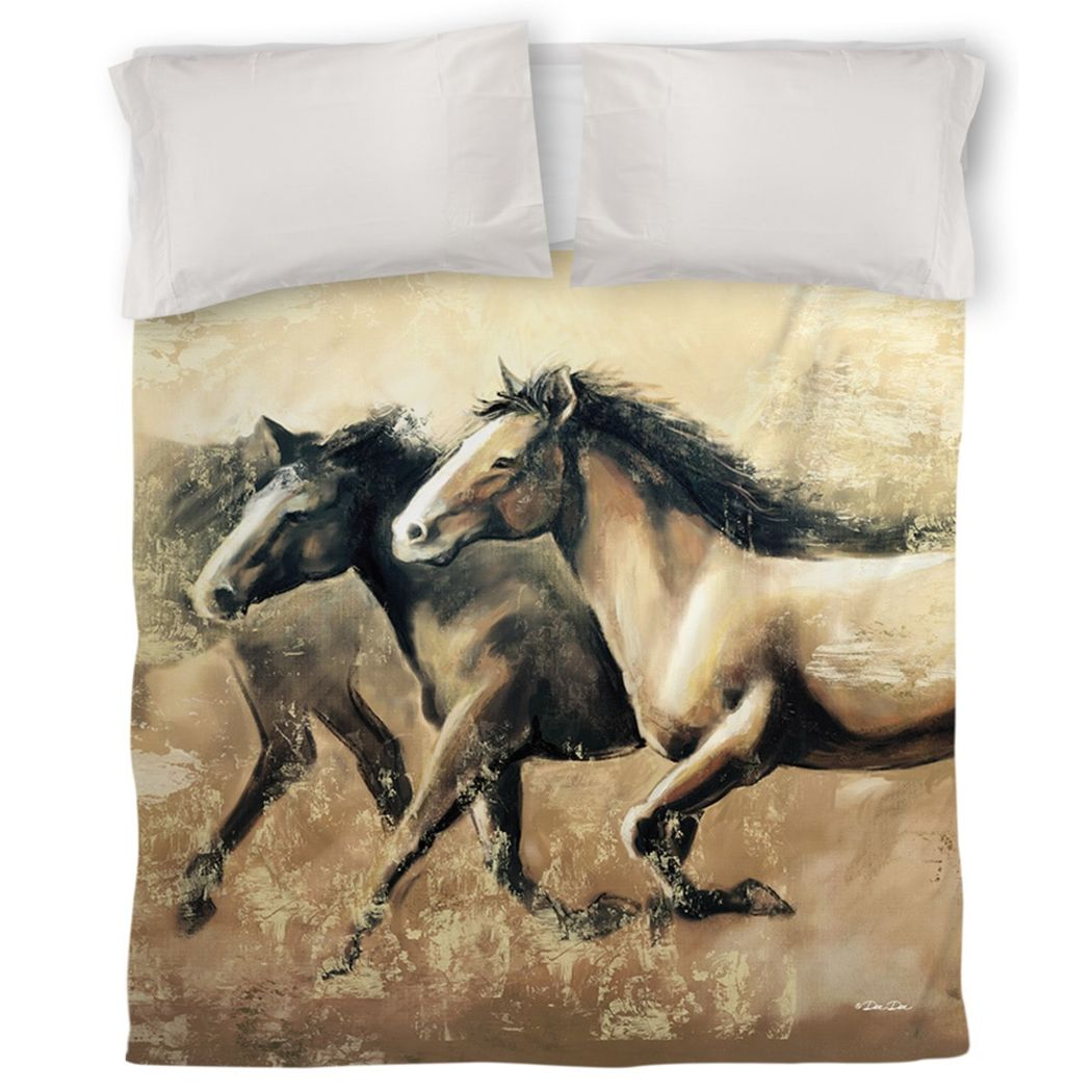Galloping Horses Duvet Cover Running Horse Themed Bedding Farm Southwestern Ranch Country Western Animal Artistic Polyester Cotton