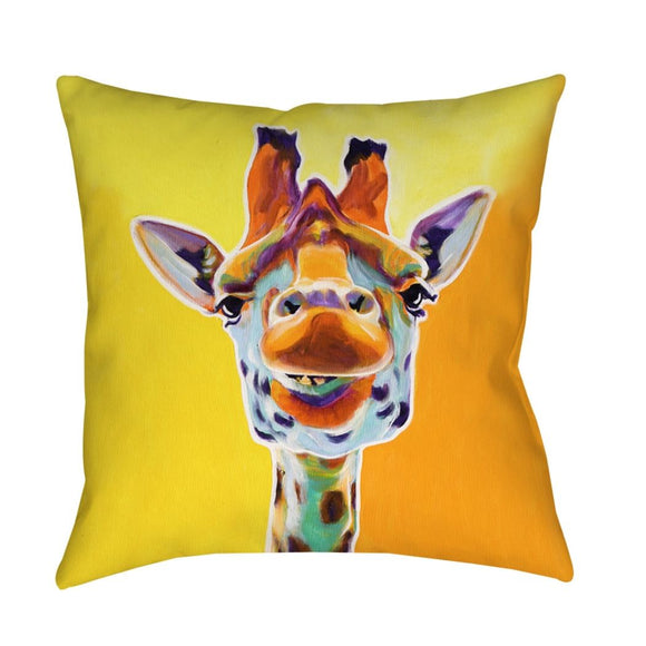 Giraffe Animal Throw Pillow Square Shape Graphic Pattern Accent Type Spot Clean Eco Friendly Bedding Polyester