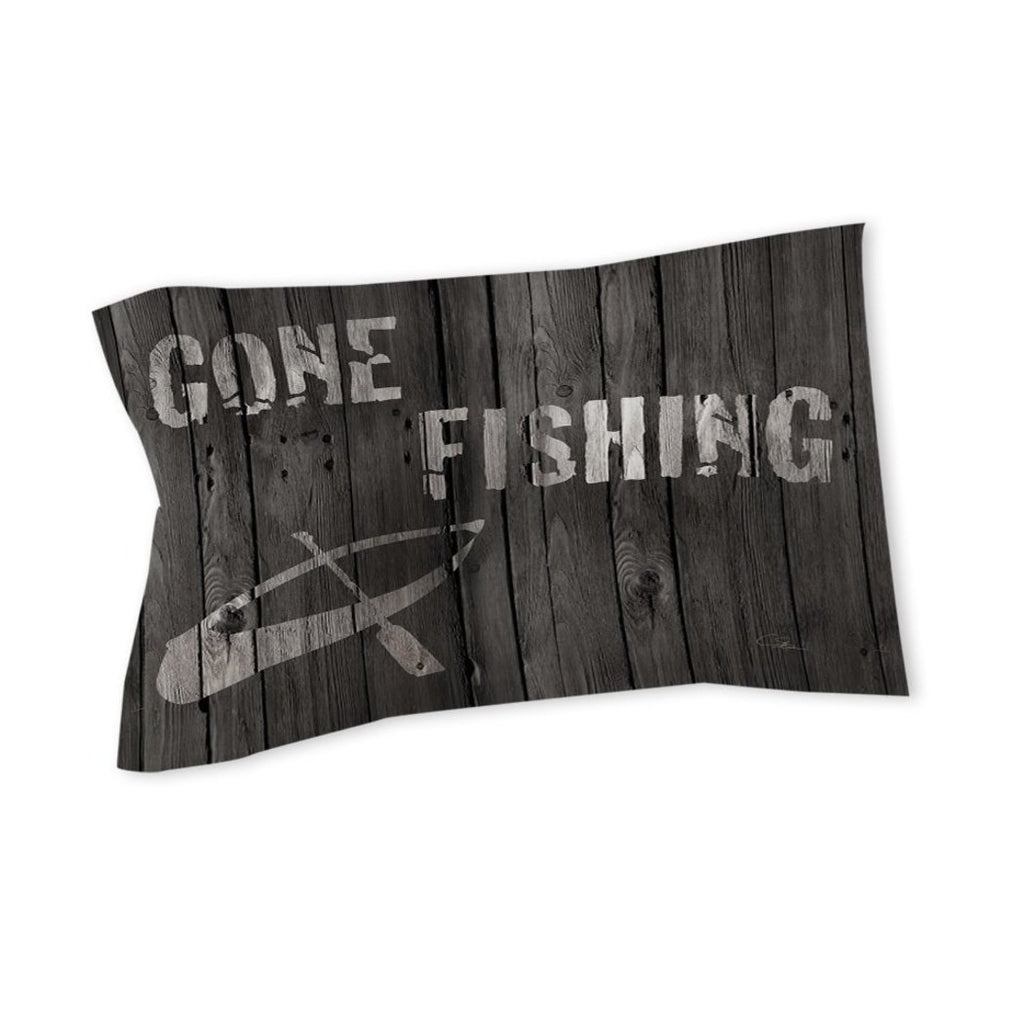 Gone Fishing Pillow Cabin Themed Lodge Fish Pattern Canoe Wood Design ic Country Cottage Sport Cotton Polyester