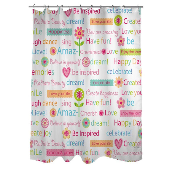 1 piece Kids Happy Day Words Theme Shower Curtain Best Wishes Blind Colorful Flowers Hearts Pattern Pink Purple Orange Green - Diamond Home USA