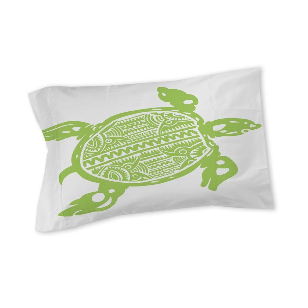 Sea Turtle Pillow Ocean Themed Pattern Cover Tropical Sealife Marine Life Beach Design Cotton Polyester
