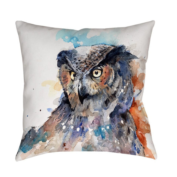 Horned Owl Animal Throw Pillow Square Shape Transitional Accent Type Spot Clean Polyester Eco Friendly Bedding Perfact Living