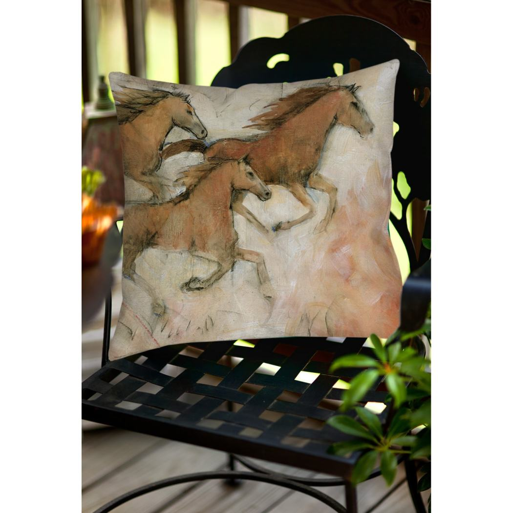 Horse Fresco Animal Throw Pillow Square Shape Casual Wildlife Graphic Pattern Accent Type Spot Clean Eco Friendly Polyester