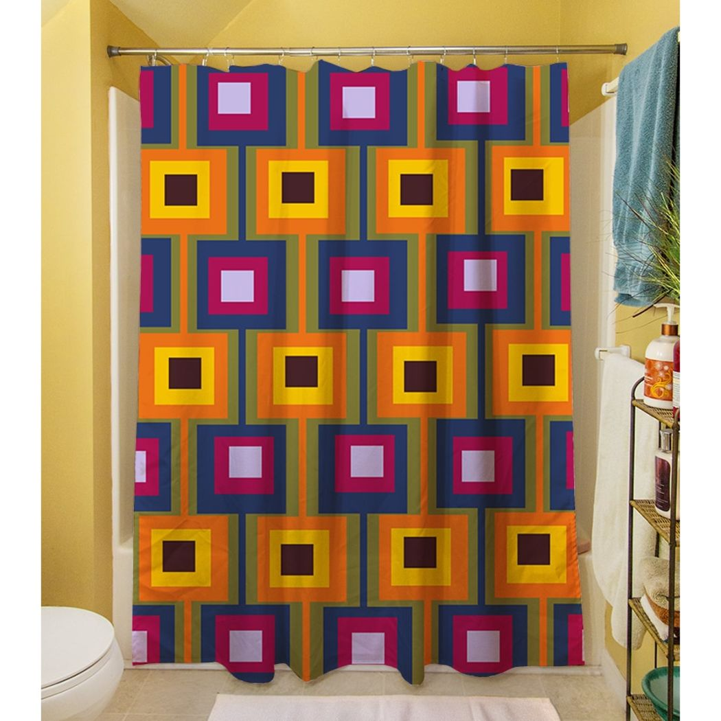 Red Orange Blue Brown Geometric Pattern Shower Curtain Polyester Abstract Graphical Themed Detailed Colorful Square Box Printed Modern Elegant Design - Diamond Home USA