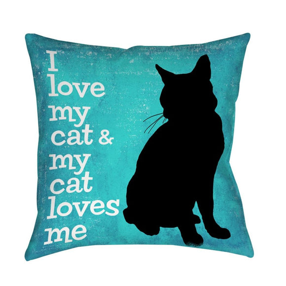 Quote Throw Pillow I Love My Cat My Cat Loves Me Square Shape Animal Pattern Casual Patterned Polyester Spot Clean Bedding