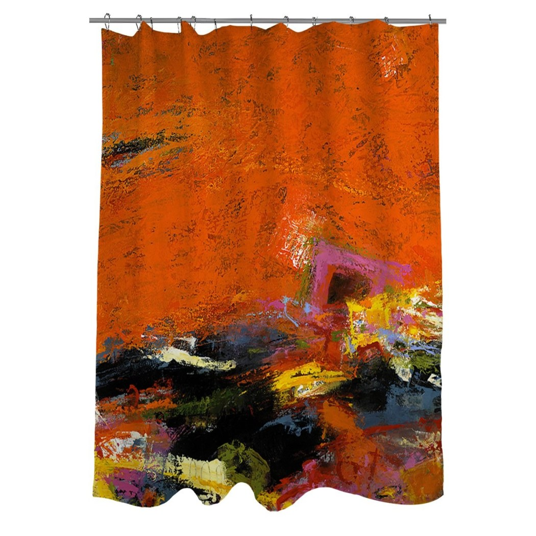 Orange Black Yellow Graphic Art Themed Shower Curtain Polyester Detailed Colorful Urban Splash Printed Abstract Graphical Pattern Modern Elegant - Diamond Home USA