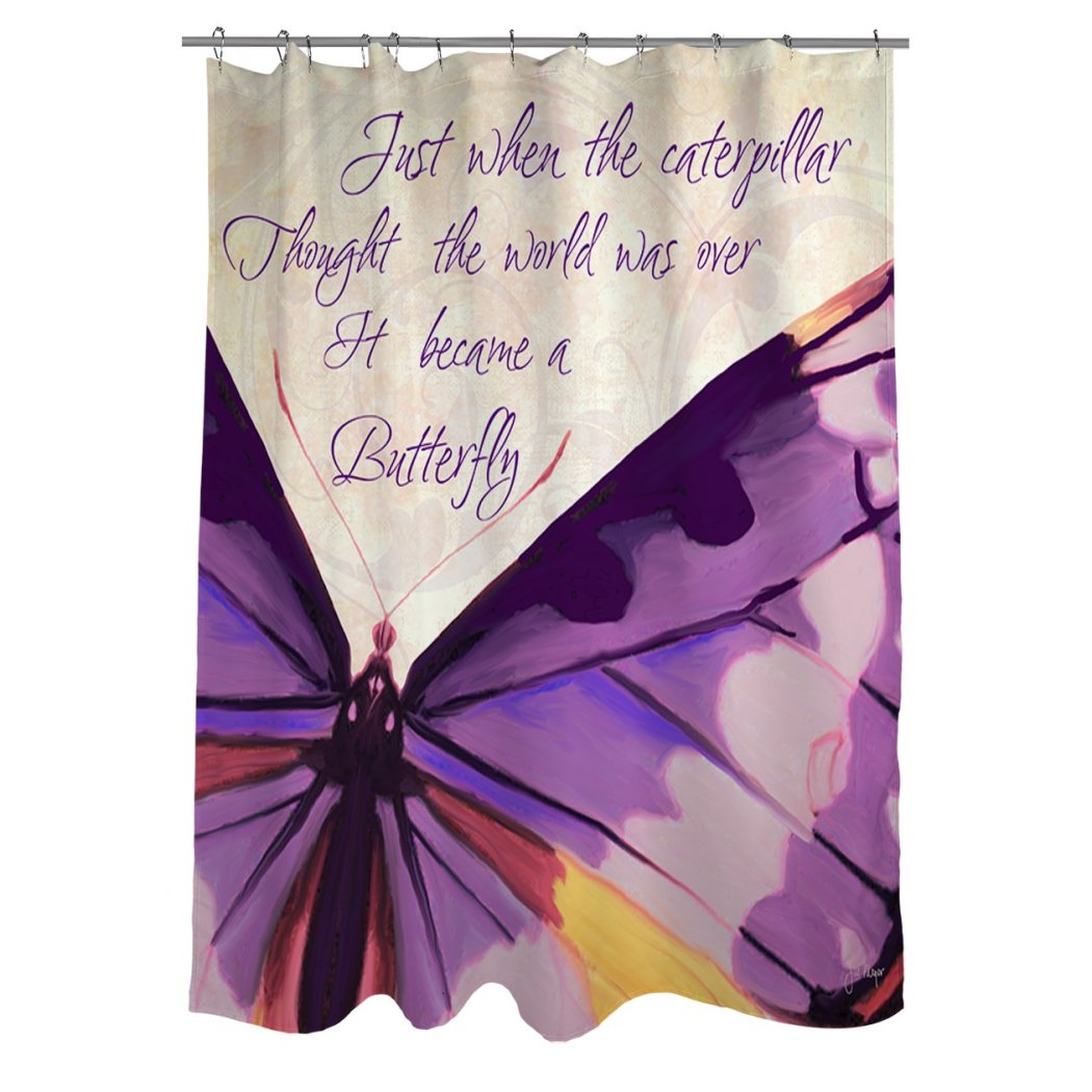 Kids Purple Graphic Art Themed Shower Curtain Polyester Detailed Colorful Butterfly Word Art Quote Printed Abstract Graphical Pattern Modern Elegant - Diamond Home USA