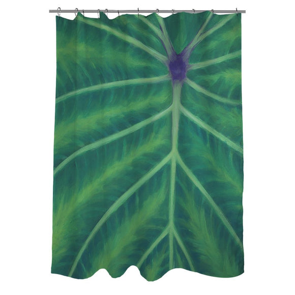 Green Purple Graphic Art Themed Shower Curtain Polyester Detailed Colorful Leaf Printed Abstract Graphical Pattern Modern Elegant Design Textures - Diamond Home USA