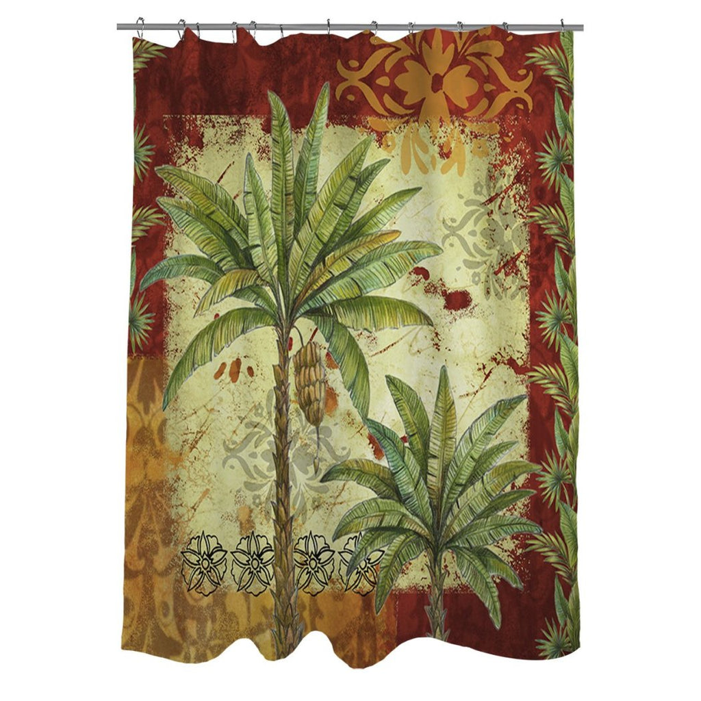 Red Tropical Themed Shower Curtain Palm Tree Hawaiian Bathroom Pattern Palms Graphic Hawaii Polyester Floral Beach Ocean Sea Caribbean Red Gold Green - Diamond Home USA